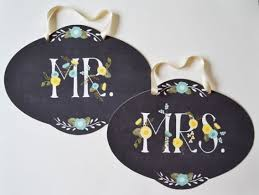 Mr And Mrs Wedding Signs Aqua And Yellow Mr And Mrs Wedding Signs
