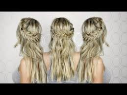 braided hairstyles with hair down how to half up half down hair tutorial prom wedding homecoming