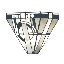 art deco wall washer wall light with stained glass shade
