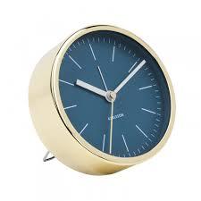 Desk Alarm Clock Karlsson Alarm Clock Minimal Blue Round Copper Desk Clock