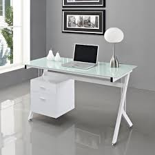 Computer Desk With File Cabinet by White Modern Computer Desk Wooden File Cabinet Transparent Mesh