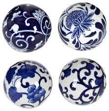 porcelain blue white decorative balls 4 set traditional