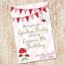 garden party invitation birthday party invitation digital