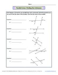 parallel lines and transversals worksheet finding the unknown