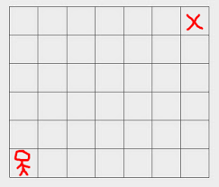right top corner you have to reach the top right corner of a 7 x 6 grid starting from