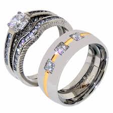 his and wedding ring sets his hers 3 pcs womens 6x6mm cz wedding ring set mens 3 cz