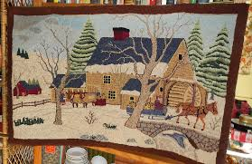 Country Primitive Rugs Antique Hooked Rug American Folk Art Country Primitive Scene Mill