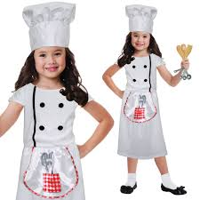 kids white baker chef profession uniform costume