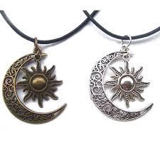 1pcs antique bronze silver crescent moon sun charm pendant wax cord