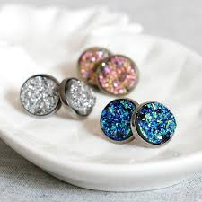 druzy stud earrings sparkling druzy stud earrings by nell notonthehighstreet