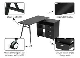 Black Glass L Shaped Computer Desk L Shape Black Glass Portable Office Desk Computer Pc Laptop Desk