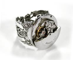 large silver rings images Large silver auto watch movement ring on large filigree base jpg