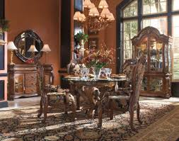 formal dining table room chairs wood cherry with leather ideas