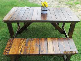Picnic Table With Benches Rustic Picnic Table With Benches Home Table Decoration