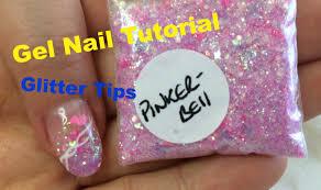 beginner gel nail tutorial glitter tips with gel pattern youtube