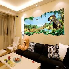 cartoon 3d dinosaur wall sticker for boys room child art decor the size for our wall sicker refers to the size of images shown on the wall the effect chart for reference only please carefully to refer to our size