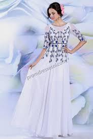 prom dresses online white half sleeve embroidery beading dinner