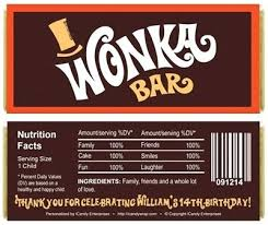 willy inspired birthday candy bar wrappers chocolate wrapper