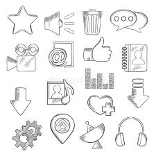 social media and multimedia icons sketch style stock vector