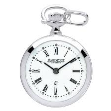necklace watch images Jean pierre of switzerland sterling silver open face quartz roman jpg