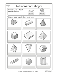 1st grade 2nd grade math worksheets write the 3 d shape u0027s name