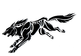 black wolf tattoo design