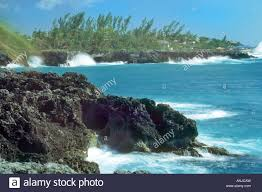 the cliffs and sea at west end of negril jamaica west indies stock
