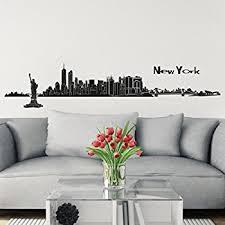Skyline Wallpaper Bedroom Wall Decals New York Street Sign City Travel Fashion Office Dorm