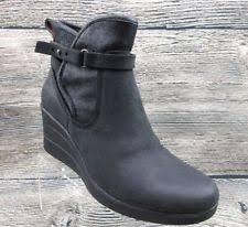 ugg australia emalie 1008017 black leather ankle waterproof ugg emalie leather black wedge boots us 6 womens