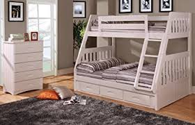 Amazoncom Twin Over Full Bunk Bed With  Drawers Desk Hutch - White bunk beds twin over full with stairs
