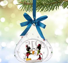 disney store mickey minnie mouse glass sketchbook ornament