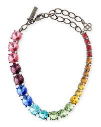 swarovski beaded necklace images Oscar de la renta swarovski crystal cascade rainbow necklace jpg