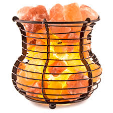 himalayan glow ionic crystal salt basket l crystal allies gallery natural himalayan salt wire mesh basket vase