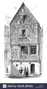 an old wattle and daub tudor style house in london circa 1660