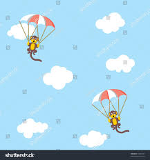 Wallpaper Children Children Parachute Monkey Wallpaper Stock Vector 76345747