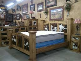 Rustic Bedroom Rustic Furniture Western Lodge Woods Trading - Cowhide bedroom furniture