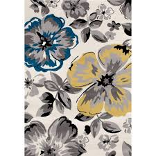 Modern Design Area Rugs by World Rug Gallery Modern Floral Circles Cream 5 Ft X 7 Ft Area