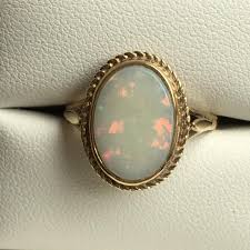 vintage opal engagement rings vintage opal ring 3 carat white opal in 9k yellow gold unique