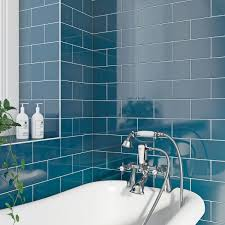 british ceramic tile metro flat navy blue gloss tile 100mm x 200mm