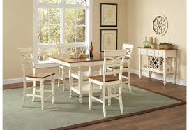 charming 5 piece counter height dining set in two tone white and