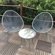 Egg Bistro Chairs Monaco 3 Wicker Patio Egg Set Grey Robert Dyas