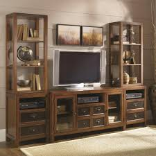 six drawer two door entertainment wall unit with shelving storage