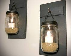 Jar Candle Wall Sconce Set Of Brown Mason Jar Candle Wall Sconces By Littlerusticcottage
