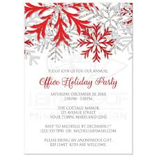 party invitations red silver snowflake winter