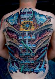 large biomechanical back piece biomechanical tattoos