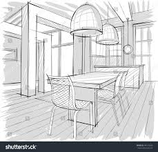 architectural sketch home interior stock vector 446175826