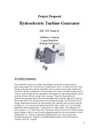 hydroelectric turbine generator project proposal turbine