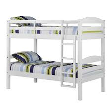 White Twin  Twin Solid Wood Bunk Bed Walker Edison BWSTOTWH - Walker edison twin over full bunk bed