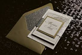 new years wedding invitations silver and gold glitter wedding invitations new year s