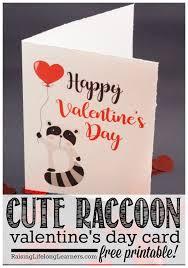 cute raccoon valentine u0027s day card with free printable